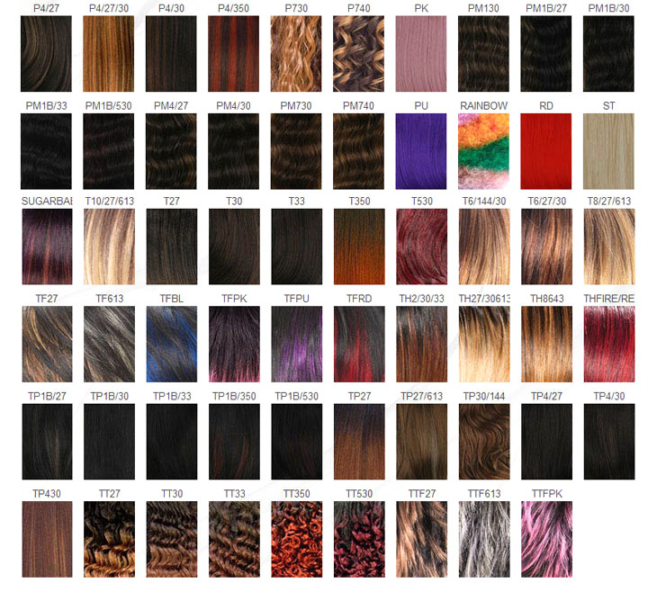 Synthetic Hair Weave Color Chart Human Hair Extensions