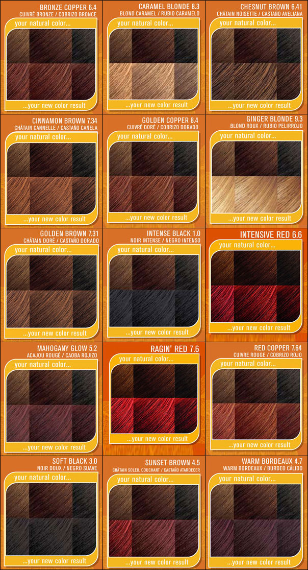 ... Brown,Caramel Brown,Intense Red,Red Copper,Bronze Copper,Honey Blonde