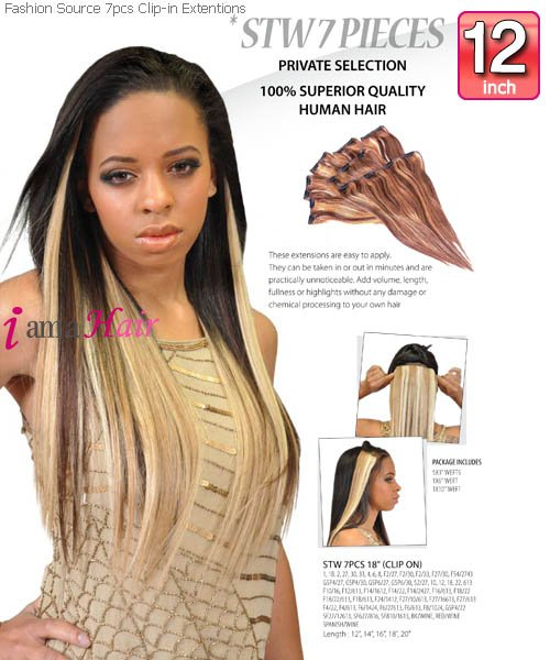 Fashion Source STW12 Clip In Hair Extension