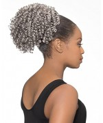Foxy Silver Domes and Drawstrings Synthetic Hair Piece - DS014