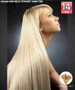 Bohyme Gold  SILKY STRAIGHT HAND-TIED 14 - Hand-Tied Weft Remi Human Hair Weave