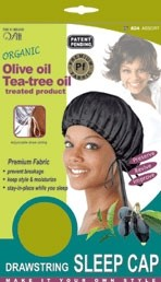 Qfitt Organic Olive Oil Tea-Tree Oil Treated Drawstring Sleep Cap