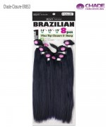 New Born Free Hair Piece - ER8S3 Remi Touch 8pcs - Yaki Straight 18.20.22+Top Closure & Bang