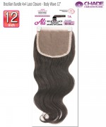 New Born Free Hair Piece - Brazilian Bundle 4x4 Lace Closure - Body wave 12""