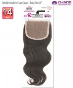 New Born Free Hair Piece - Brazilian Bundle 4x4 Lace Closure - Body wave 14""