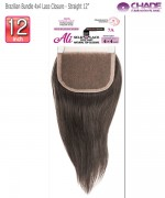 New Born Free Hair Piece - Brazilian Bundle 4x4 Lace Closure - Straight  12
