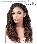 Beshe Synthetic Braid - C. WBOX220 Crochet Feather Lite Pre-Loop Wavy Box 20
