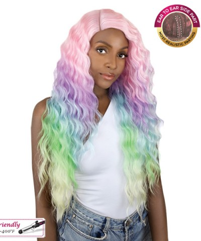 It's a wig Synthetic UNICORN COLOR Lace Front Wig - SUN DANCE