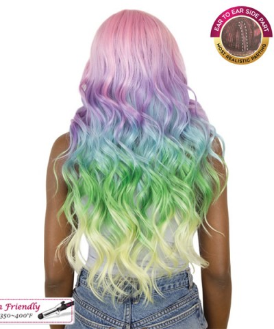 It's a wig Synthetic UNICORN COLOR Lace Front Wig - BODY WAVE