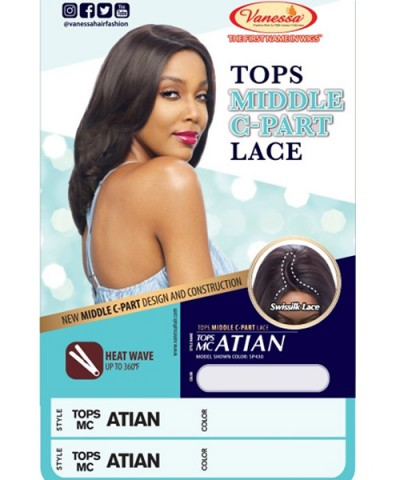 Vanessa Synthetic Swissilk Middle C Part Lace Front Wig - TOPS MC ATIAN